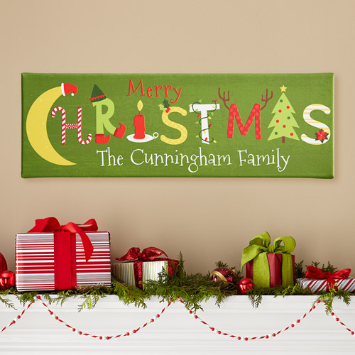 Personalized Merry Christmas Art Canvas