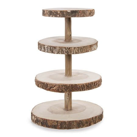 10In X 15.50In 4 Tier Slice Wood Cupcake - Wood Slice