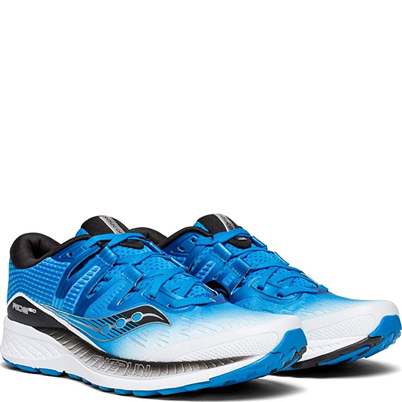 US Saucony Men/'s Ride ISO Running Shoe M 14 D White//Black//Blue