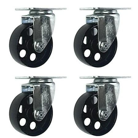 4 All Steel Swivel Plate Caster Wheels Heavy Duty High-gauge Steel (3.5