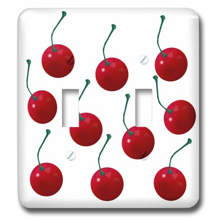 Dark Sweet Cherries (3dRose Cherries, lots of sweet delicious cherries for fruit lover. Cherry pattern of red fruit with stems - Double Toggle Switch (lsp_45201_2))