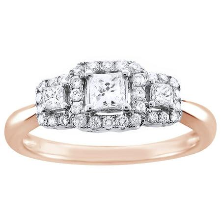Princess & Round Cut White Natural Diamond Three Stone Frame Engagement Ring in 14K Rose Gold (0.5 (Radiant Cut Three Stone Diamond Engagement Rings)