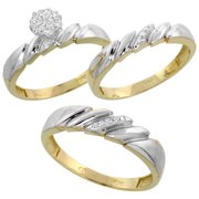 10k yellow gold diamond trio engagement wedding ring set for him and her 3 piece - Wedding Ring Set For Him And Her