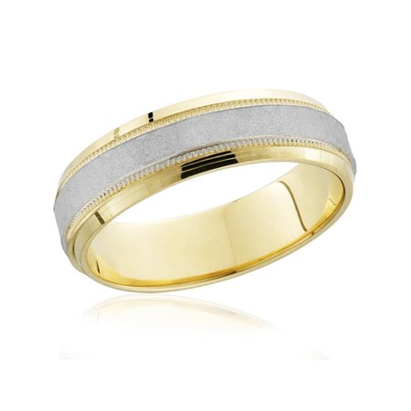 Mens Hammered Two Tone 14k White Yellow Gold Wedding Band 6mm Wide Ring Solid