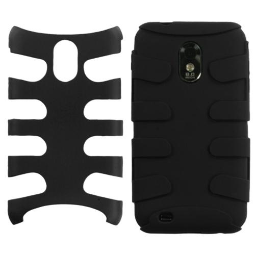 Insten Rubberized Black/Black Fishbone Phone Case for SAMSUNG: D710 (Epic 4G Touch), R760 (Galaxy S II), Galaxy S II 4G