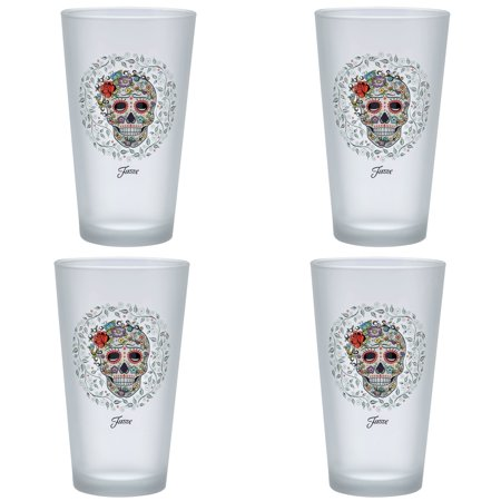Fiesta Drinking Glasses (Officially Licensed Fiesta Skull and Vine Sugar 16-Ounce Frosted Tapered Cooler Glass Set of)