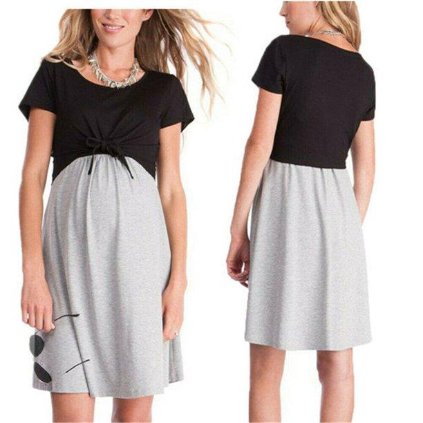 Focusnorm Maternity Pregnant Women Short Sleeve Breastfeeding Dress Nursing Clothes Wear Walmart Com Walmart Com