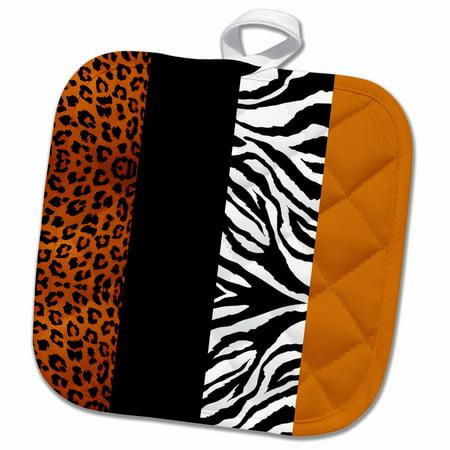 3dRose Orange Black and White Animal Print - Leopard and Zebra - Pot Holder, 8 by 8-inch (Zebra Post)