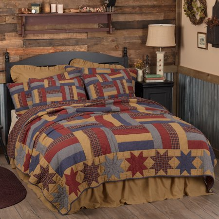 Golden Tan Primitive Bedding National Quilt Museum Kindred Stars and Bars Cotton Pre-Washed Patchwork Star California King Quilt