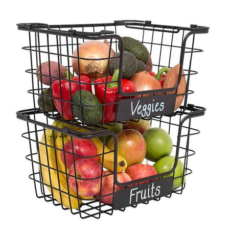 BIRDROCK HOME Stacking Wire Market Baskets with Chalk Label | Set of 2 | Fruit Vegetable Produce Metal Storage Bin for Kitchen Counter | Black ()