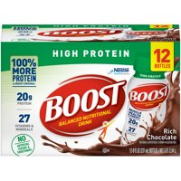 Boost High Protein Ready to Drink Nutritional Drink, Rich Chocolate, 12 - 8 FL OZ Bottles