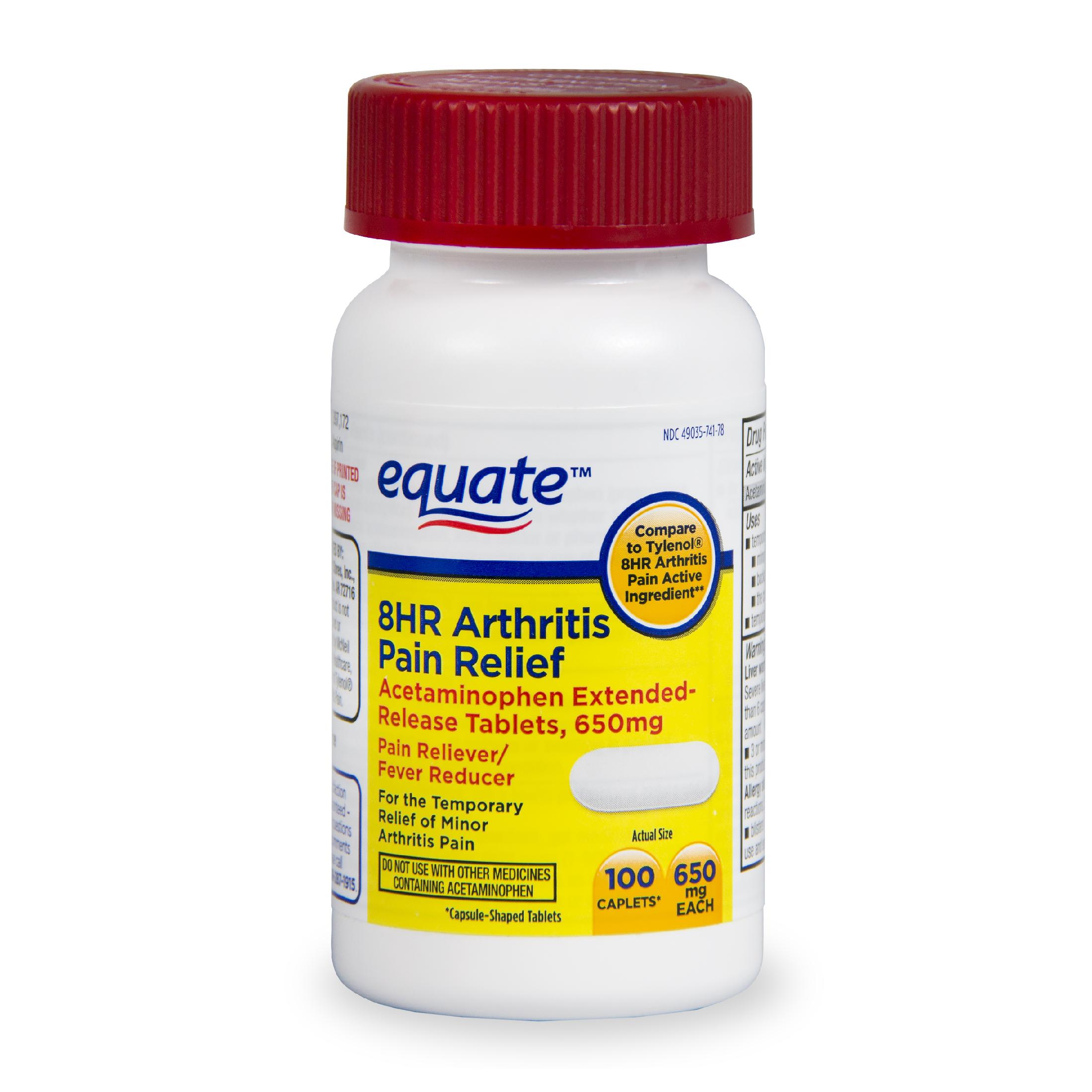 Equate Arthritis Pain Relief Extended Release Caplets, 650 mg, 100 Ct -  Walmart.com