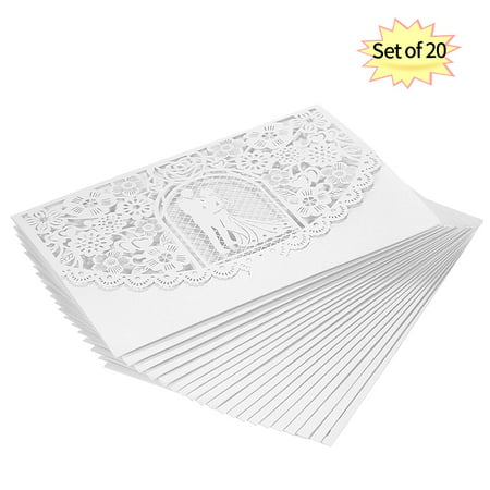 20pcs/set Wedding Invitation Card Cover Pearl Paper Laser Cut Bridal Bridegroom Pattern Invitation Cards Wedding Anniversary (Cut Card)
