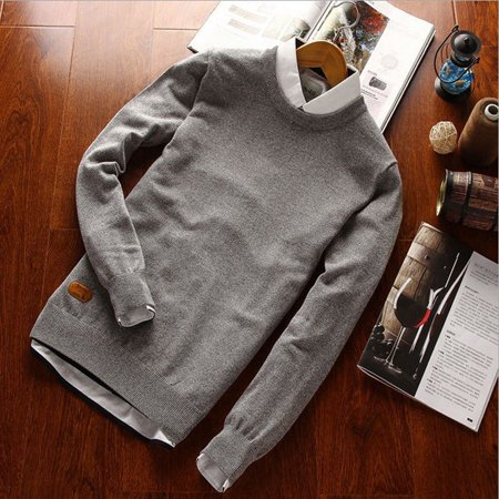 Mens Cable Knit Jumper (Fashion Men's Winter Autumn Slim Knit Pullover Sweater Jumper Plain Tops Shirt )