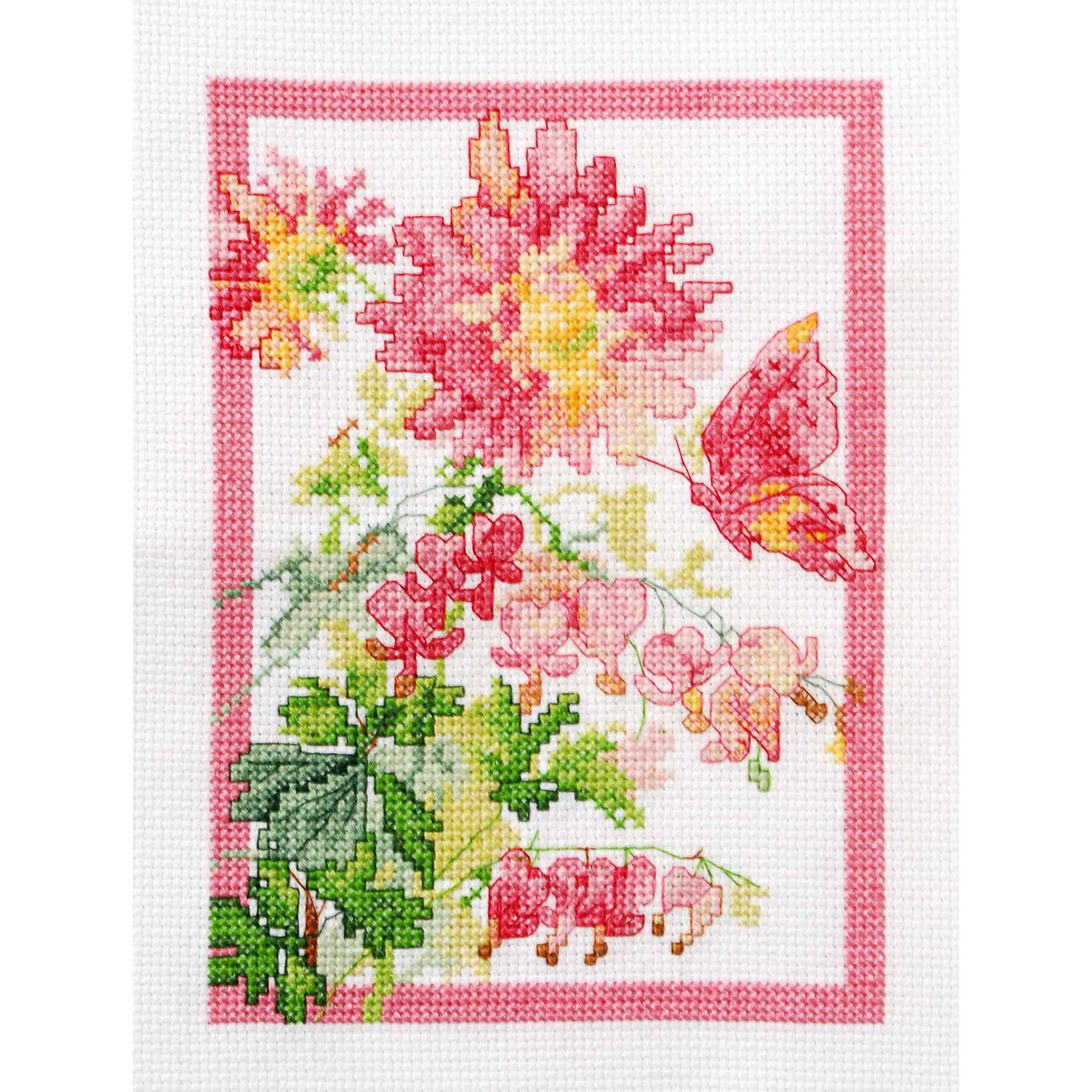 "Bucilla   Counted Cross Stitch Mini Picture Kit by Plaid, Bleeding Hearts, 5"" x   7"""
