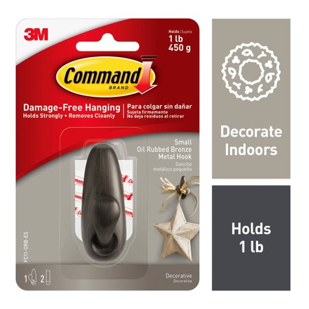 Command Forever Classic Hook, Oil Rubbed Bronze, Small, 1 Hook, 2 Strips/Pack