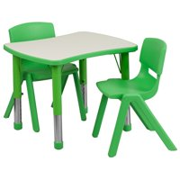 Lancaster Home 21.875''W x 26.625''L Rectangular Plastic Height Adjustable Activity Table Set with 2 Chairs Green