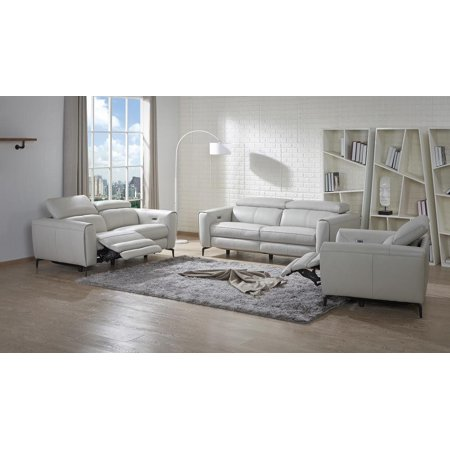 J&M Lorenzo Modern White Premium Italian Leather Recliner Sofa Set 3 Pcs