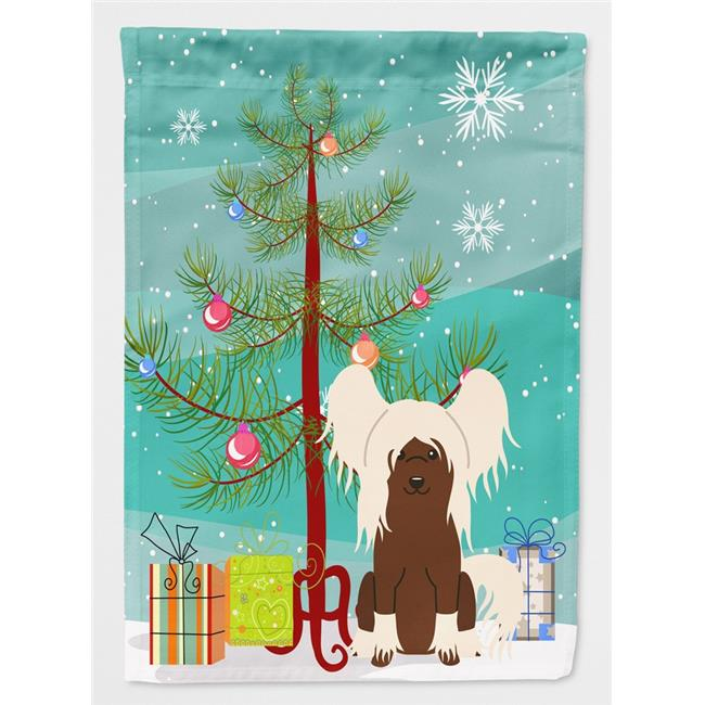 Carolines Treasures BB4238CHF Merry Christmas Tree Chinese Crested Cream Flag Canvas House Size - image 1 of 1