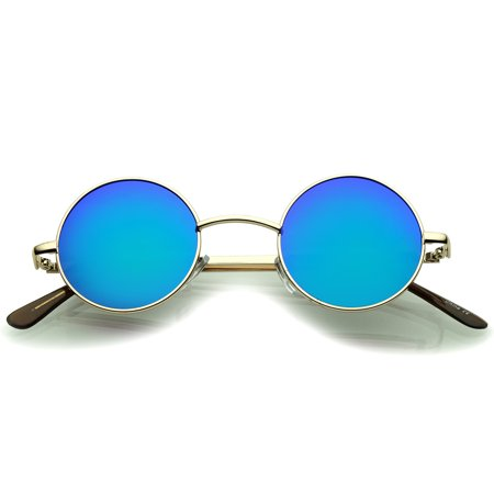 sunglassLA - Small Retro Lennon Inspired Style Colored Mirror Lens Round Metal Sunglasses 41mm - 41mm