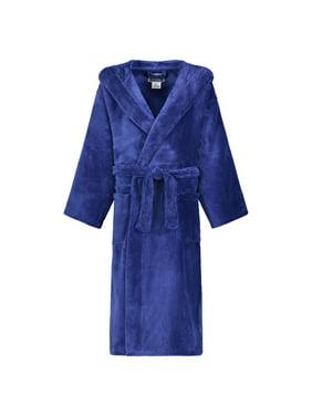 Star Kids Robe Soft Plush Hooded Fleece Robe Sleep Robe Bathrobe Boys & Girls (14-16, Navy )