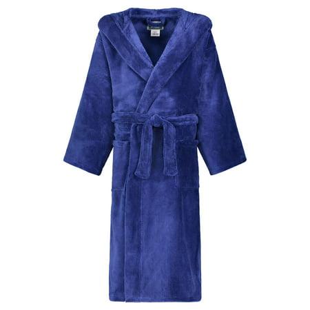 Girls Hooded Fleece Robe - Star Kids Robe Soft Plush Hooded Fleece Robe Sleep Robe Bathrobe Boys & Girls (14-16, Navy )