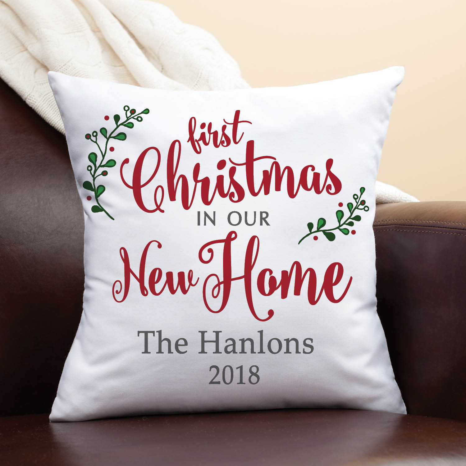 Christmas In Our New Home Personalized Throw Pillow