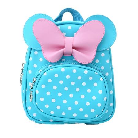 - Kids Girl School Backpack Waterproof PU Cute Backpack Children Kindergarten Primary Schoolbags Cartoon Bow Tie Dots Blue