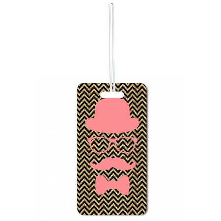 - Accessory Avenue Pink Hipster Elements on Black and Gold Chevrons Print Design Standard Sized Hard Plastic Double Sided Luggage Identifier Tag