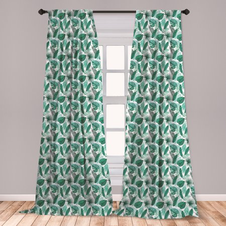 Banana Leaf Curtains 2 Panels Set, Monstera Areca and Fan Palm Leaves in Green Natural Pattern, Window Drapes for Living Room Bedroom, Jade Green White, by Ambesonne Fn Light Curtain