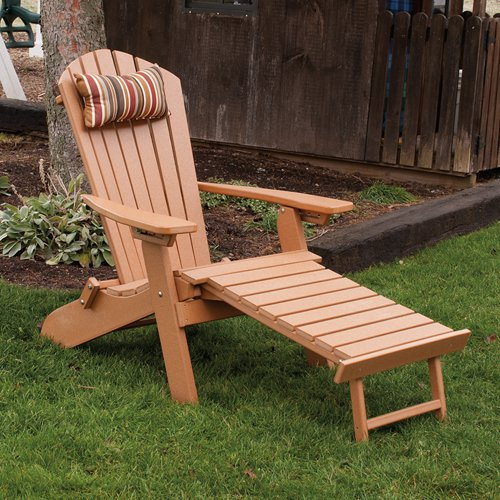 A & L Furniture Recycled Plastic Folding Reclining Adirondack with Pullout Ottoman