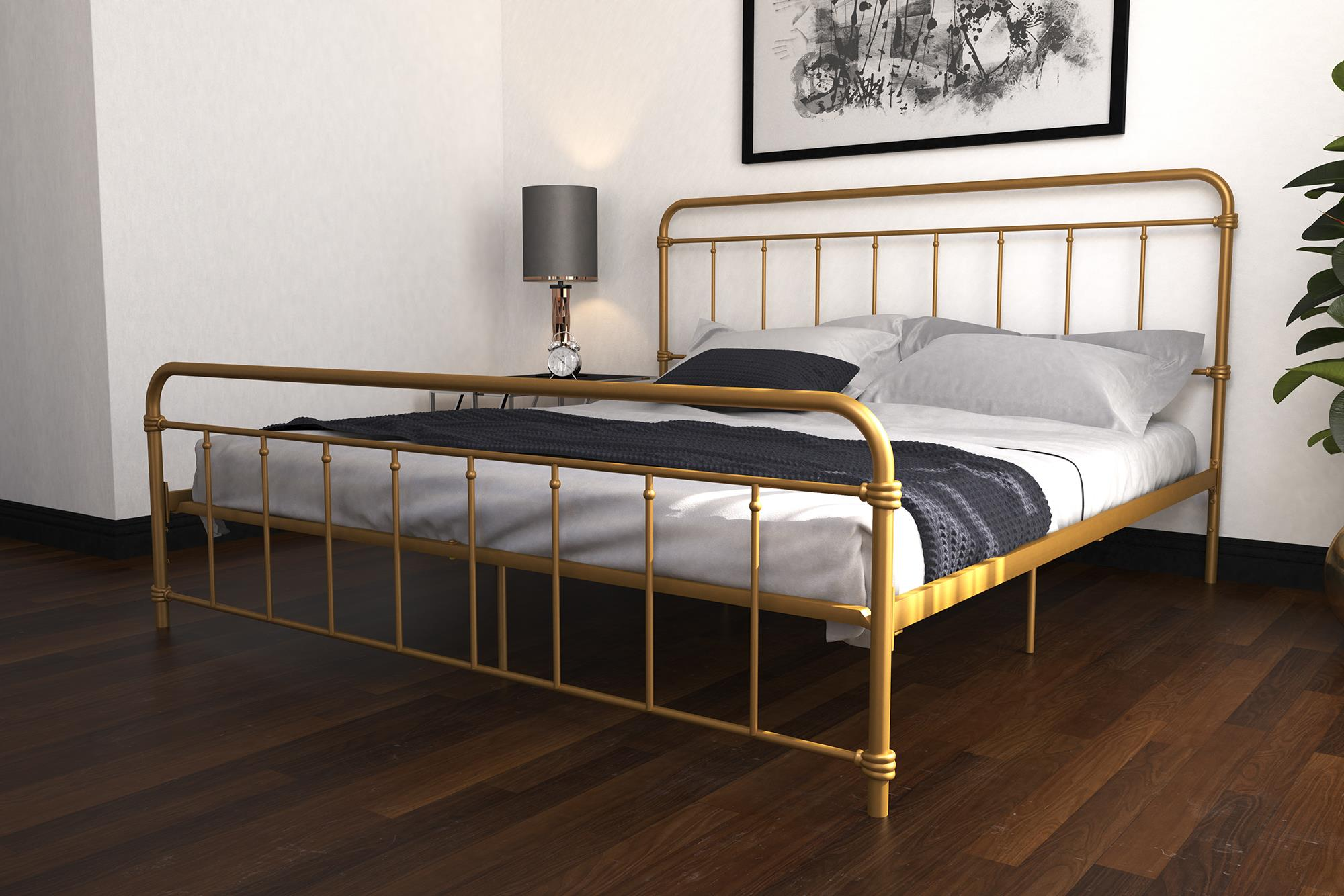Dhp Wallace Metal Bed King Size Frame Underbed Storage Gold Walmart Com Walmart Com