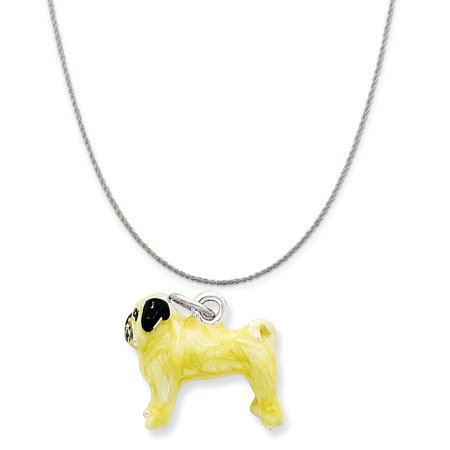 Mireval Sterling Silver Enameled Fawn Pug Charm On A Sterling