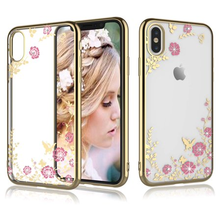 Tekcoo Phone Case iPhone XS Max / iPhone XS / iPhone XR / iPhone X, Floral Flower Cute Glitter Bling Crystal Clear Soft TPU Case Cover Bling Kit Crystals Cell Phone