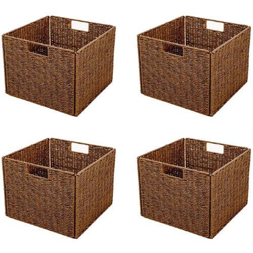 Captivating Foldable Storage Basket With Iron Wire Frame By Trademark Innovations (Set  Of 4)