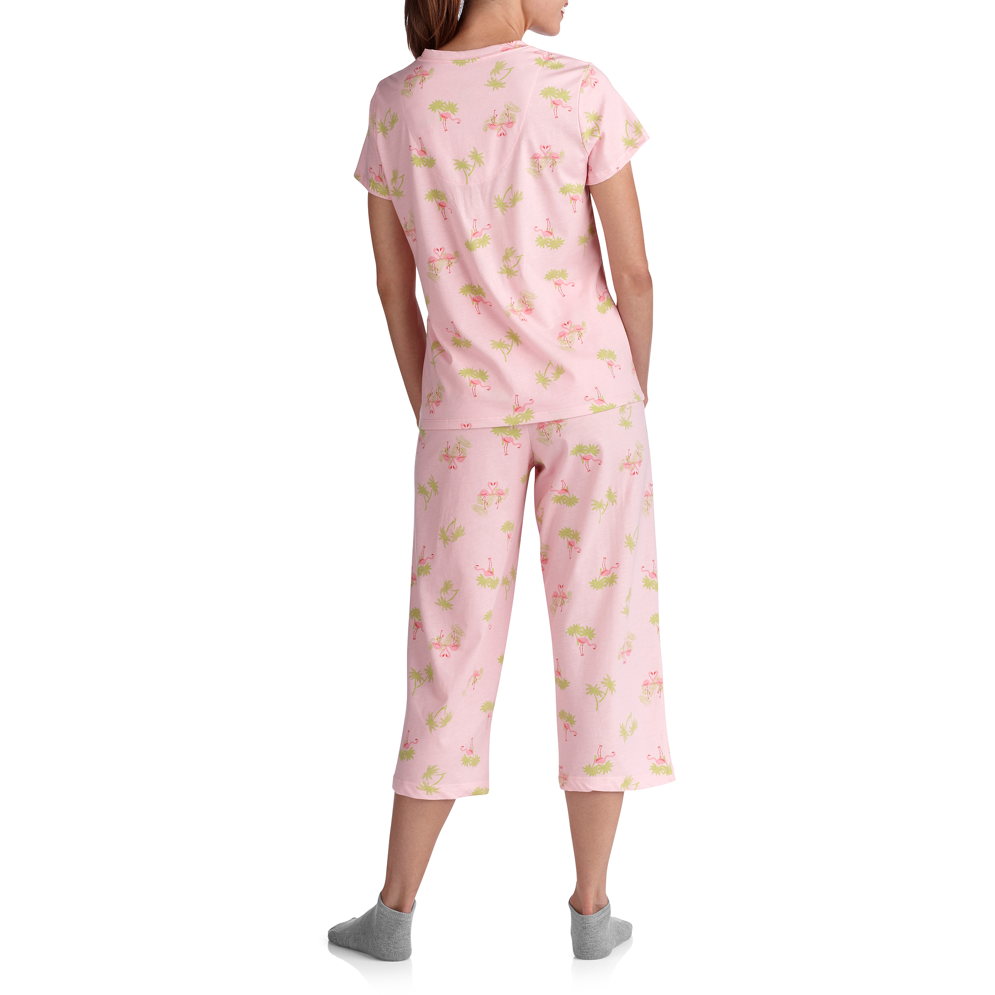 White Stag Women's V Neck Sleep Shirt and Pant PJ Set