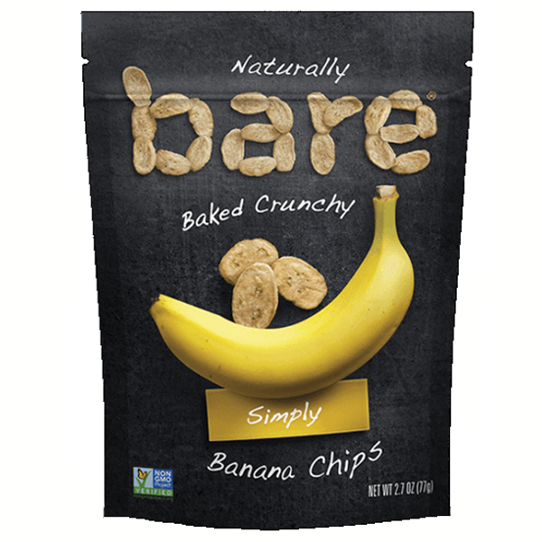 Bare Baked Crunchy Simply Banana Chips 2.7 oz Bags - Pack of 12