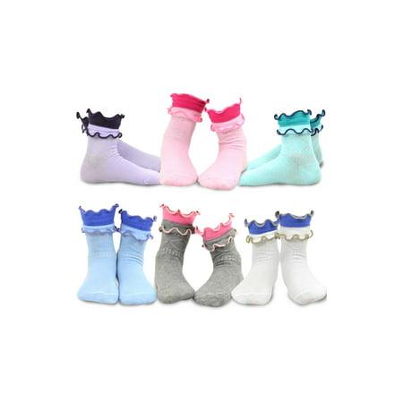 TeeHee Kids Girls Cotton Crew Overlock Top Ruffle Socks 6 Pair Pack (9-10 Years, Basic)