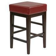 """25"""" Square Red Faux Leather Barstool with Espresso Legs"""