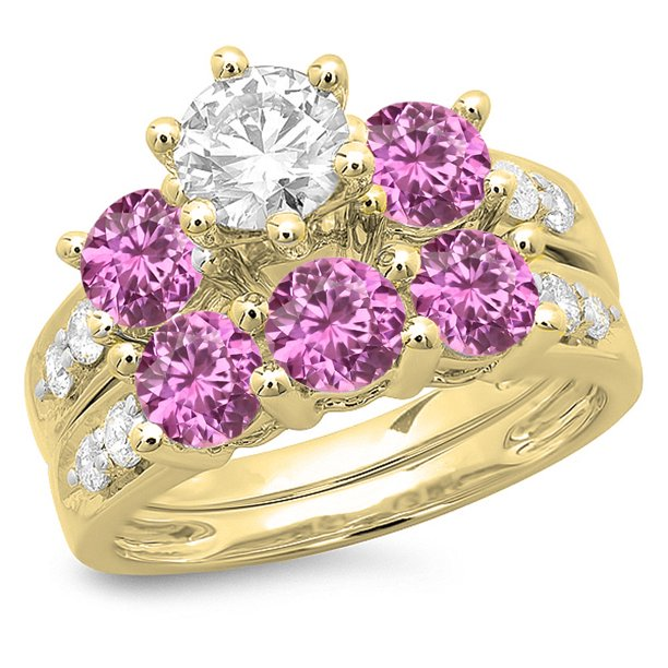 Dazzlingrock Collection 14K Pink Sapphire & White Diamond Bridal 3 Stone Engagement Ring Set, Yellow Gold, Size 7.5