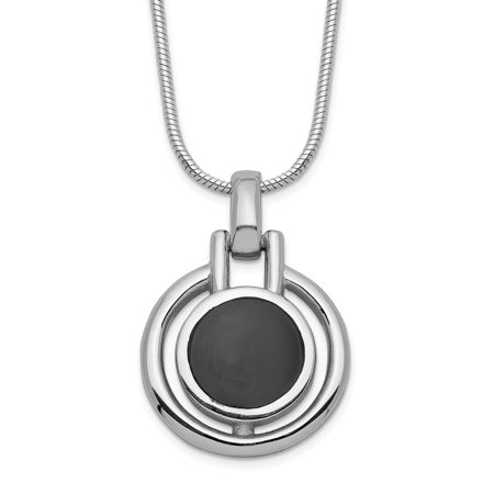 Sterling Silver Onyx Charm Pendant with 16