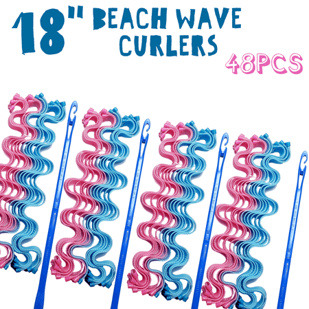 48Pack Magic Hair Curlers Beach Wave Professional Hair Style Tools Accessories,No Heat No Damage to Hair 18
