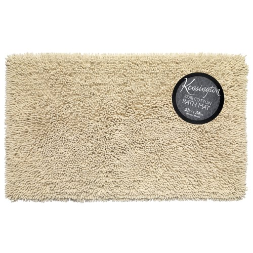 "Shaggy Cotton Chenille Bath Room Rug, Size 21""x34"" in Ivory"
