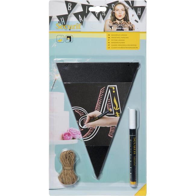Securit FB-FLAG Chalkboard Flags & Marker, Black - Pack of 12