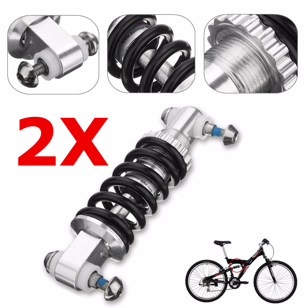 2Pack 450LBS in 125mm Mountain Folding Bike MTB Bicycle Rear Suspension Shock Spring Absorber Damper for... by