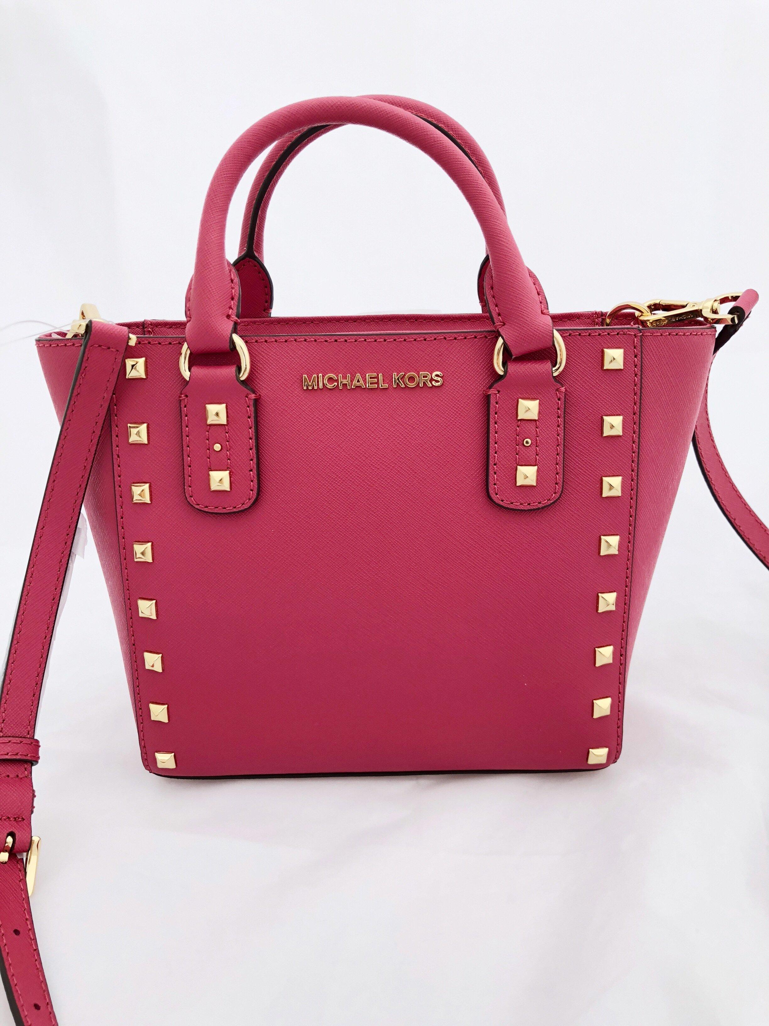 5f34bce89aaf Michael Kors - Michael Kors Sandrine Pyramid Stud Mini Tote Crossbody Bag  Lipstick Ultra Pink - Walmart.com