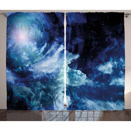 Space Curtains 2 Panels Set, Nebula Gas Cloud on Celestial Sphere Universe Themed Infinity Design Galaxy Art Print, Window Drapes for Living Room Bedroom, 108W X 90L Inches, Dark Blue , by Ambesonne - Dark Cloud 2 Halloween Theme