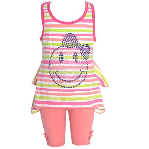 Ziggles Wiggles Little Girls Coral Stripe Happy Face 2 Pc Legging Set 4T
