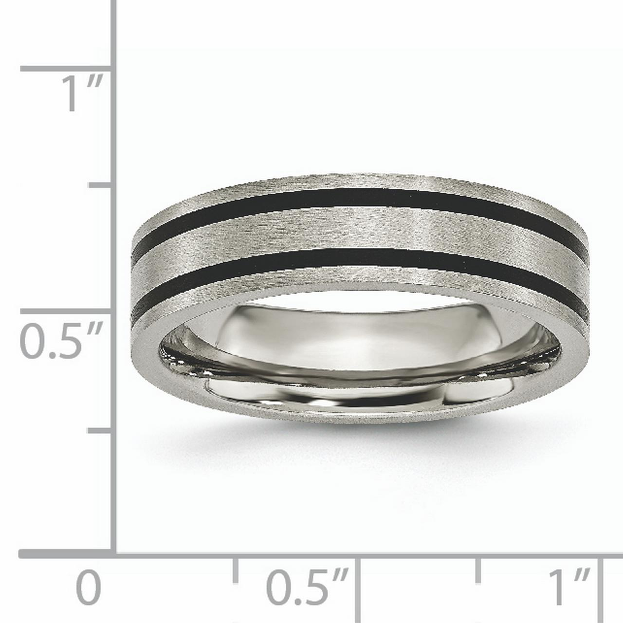 Titanium Brushed Enameled Flat 6mm Wedding Ring Band Size 7.00 Fashion Jewelry Gifts For Women For Her - image 2 de 6