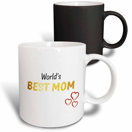 3dRose Worlds Best Mom � Golden - Magic Transforming Mug, 11-ounce - Worlds Best Mom